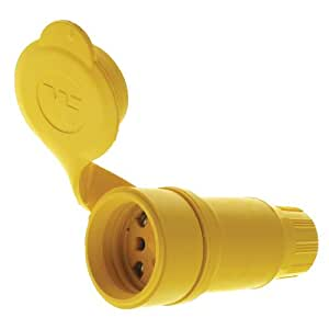 Woodhead 15W47 Watertite Wet Location Straight Blade Connector, 3 Wires, 2 Poles, NEMA 5-15 Configuration, Yellow, 15A Current, 125V Voltage,