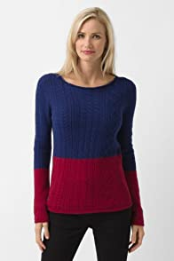 Long Sleeve Bi-color Boatneck Sweater
