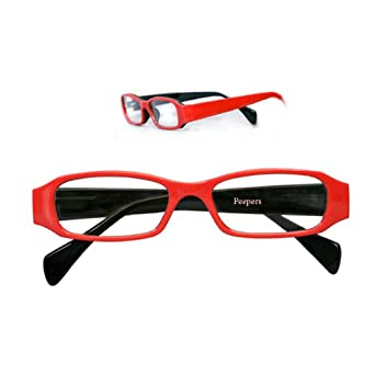 Peepers Happy Red Peepers SP HGE. Round Reading Glasses,Black,+2