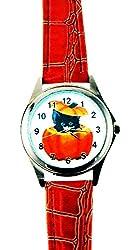 Women's Halloween Watch Pumpkin Black Cat Dial Orange Faux Leather Band Silver Case