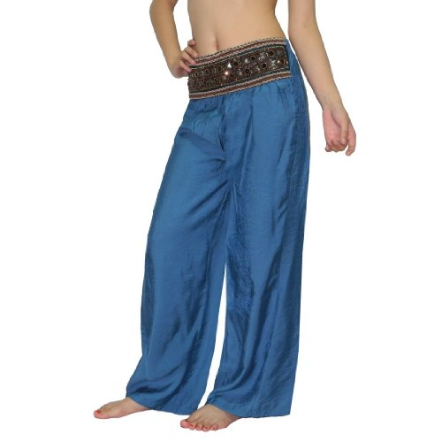 Womens Thai Exotic Casual-Wear Summer Lounging Pants With Beads M-L Blue front-157833