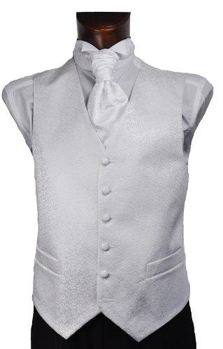 Mens White Scroll Wedding Waistcoat