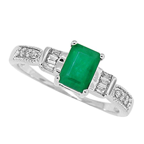 Emerald Cut Genuine Emerald Diamond Ring,14Kt White Gold-7 (Genuine Emerald Ring compare prices)