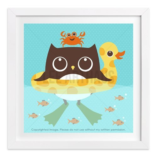 210 - Owl in Inflatable Duck Float Wall Art Print by Lee ArtHaus - One UNFRAMED Print