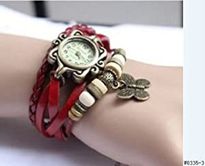 BeautyLife Weave Wrap Around Leather Bracelet Lady Woman Wrist Watch (Red Butterfly)
