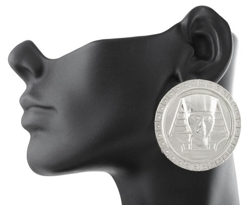 2 Pairs Of Extra Large Silvertone 3D Egyptian Pharaoh Disc Style Stud Earrings