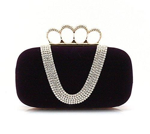 SQL Borse estate sera mini borsa acqua diamante anello Kanetaka partito borse borse a mano borsa sposa borsa da sera , black