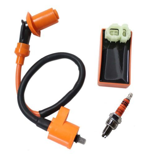 New Pack of Gy6 50cc 125cc 150cc Scooter Moped Racing Cdi Box 6 Pin + Ignition Coil + 3 Electrode Spark Plug (Moped Parts compare prices)