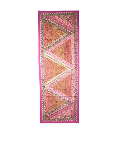 Uptown Down One-of-a-Kind Floor Runner of Vintage Tribal Collars, Pink/Orange