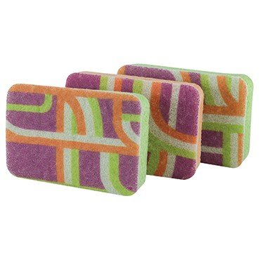 Casabella 4-Inch by 6-Inch Scrub Sponges, 3-Pack, Multi-Color Print