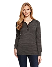 M&S Collection Heatgen™ Henley Neck Striped T-Shirt