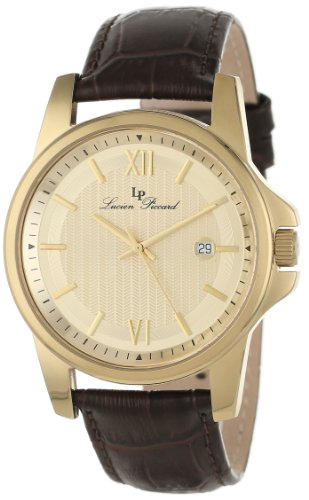 Lucien Piccard Men's 10048-YG-010 Breithorn Gold Tone Textured Dial Brown Leather Watch