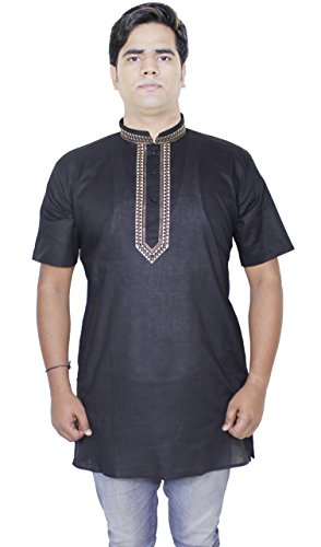 Mens Fashion Cotton Long Kurta Button Up Short Sleeve T-Shirts Tees -Size L