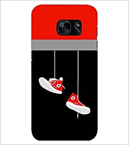 PrintDhaba Hanging Shoes D-3511 Back Case Cover for SAMSUNG GALAXY S7 (Multi-Coloured)