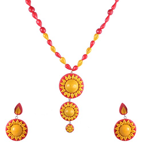 Red Littlefingers Air Dry Clay Sun Model Necklace Set In Red And Yellow Combination (Multicolor)