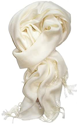 SethRoberts-A Luxurious Pashmina Silk Blend Scarf in this Season's Colors (White)