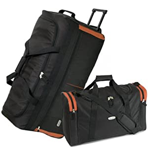 Karabar Extra Large 34 Inch Wheeled Holdall - 3 Years Warranty! (Black/Orange & Matching Flight Bag)