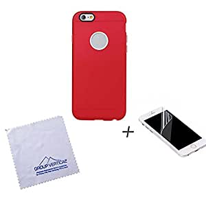 Red Extra Removable Bumper Protective 2 Piece Case for Apple iPhone 6 + Screen Protector by Group Vertical