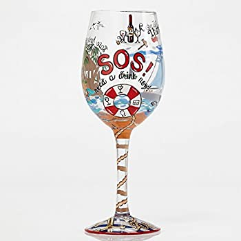 """Designs by Lolita """"Anchors Away"""" Hand-painted Artisan Wine Glass, 15 oz."""