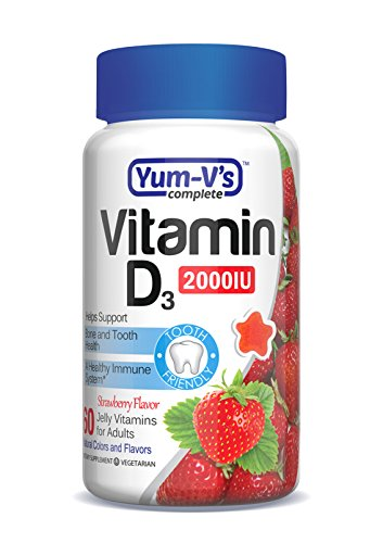 Yum-V's Complete Vitamin D 2000IU for Adults Jellies, Strawberry, 60 Count (Halal Vitamin D compare prices)