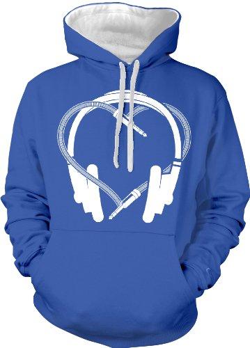 Heart Headphones Two Tone Hooded Sweatshirt (Royal, X-Large)