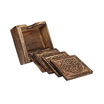 Rustic Wooden Coasters with Celtic Knot Design and Holder, Set of 4