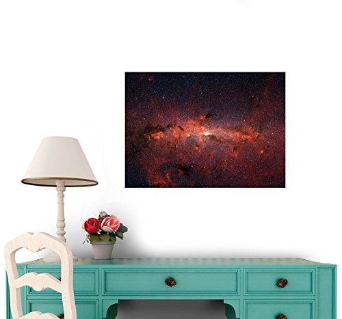 Center Of Milky Way Galaxy From Spitzer Space Telescope Wall Decal - 24 Inches W X 17 Inches H - Peel And Stick Removable Graphic