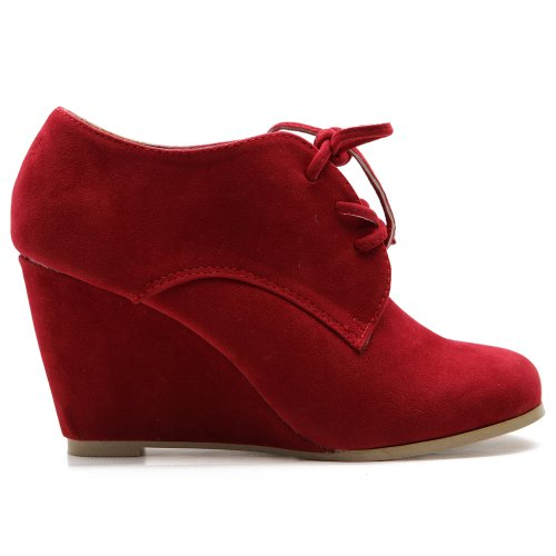Ollio Womens Shoes Faux Suede Wedge Heels Fashion Ankle Lace Ups Red Boots