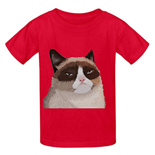 Grumpy Cat Oog Kid's Crew Neck Personalized T Shirts Red (Peter Pan Pillow Pet compare prices)
