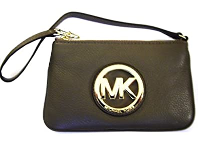 Michael Kors Geniune Leather Fulton Wristlet Bag  (Dark Sand)