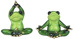 3.75 Inch Green Frog with Black Eyes Implementing Yoga Figurine Set by GSC