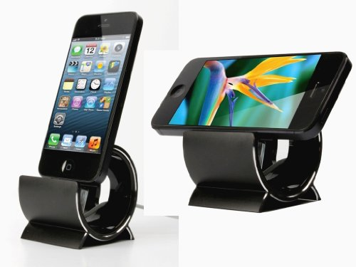 Sinjimoru Aluminum Sync Stand Dock Cradle Holder for iPhone 5, 4S, 4 and iPod Touch (Color option: Black)