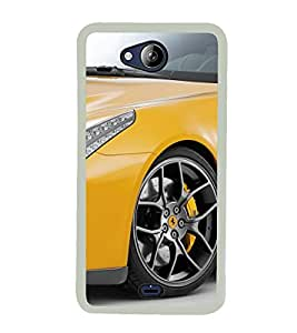 Yellow Sports Car 2D Hard Polycarbonate Designer Back Case Cover for Micromax Canvas Play Q355