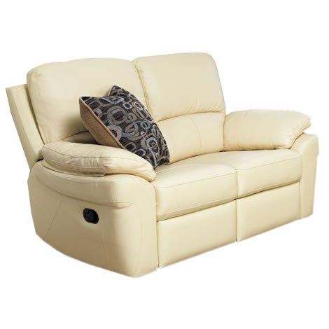 Reclining Sofa - 2 Seater - Faux Leather Upholstery - Padded Armrests - Ivory