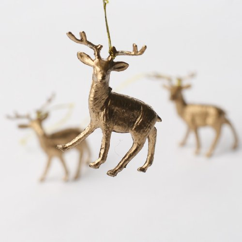 Package of 12 Tiny Metallic Gold Reindeer Ornaments for Embellishing and Trimming
