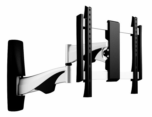 OSD Audio TSM-19-242 Full Motion Universal Wall Bracket Aluminum Low Profile Single Arm Design Fits Flat Panels for 23-Inch to 42-Inch TV, 2-Piece (Black/Silver)