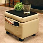 Storage Ottoman with Snack Tray-Almon...