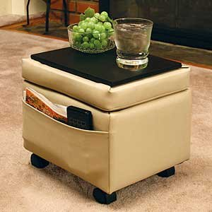 Storage Ottoman with Snack Tray-Almond Biege Color (Ottomans On Wheels compare prices)