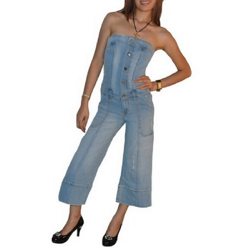 Womens Baby Phat Casual Tube Strapless Denim Jumpsuit - Light Blue