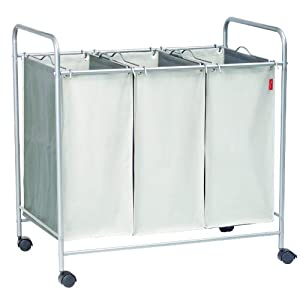 Amana alm007 triple laundry sorter with wheels laundry hampers - Laundry hamper wheels ...