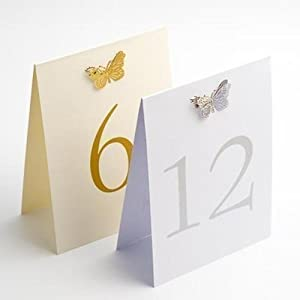 Ivory and Gold 3d Butterfly Wedding Table Numbers