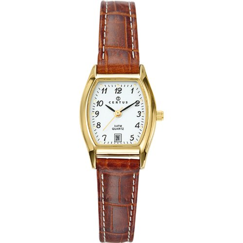 Certus 646501 - Ladies Watch - Analogue Quartz - White Dial - Brown Leather Bracelet
