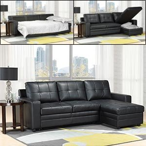 Madison Bonded-leather Sofa Bed with Chaise with Storage