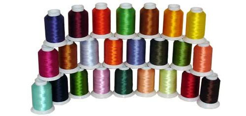 24-cone Polyester Bobbin Embroidery Thread Kit - 24 colors - 1100 yards - 60wt