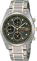 Mens Watch Seiko SNA559 Two Tone Titanium Alarm Chronograph Gray Dial