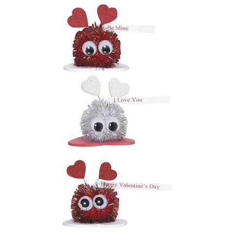 Valentine's Day Sparkle Pom Pom Critters Group Activity Foam Craft Kit (Pack of 3)