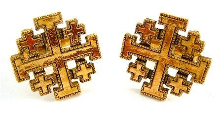 Vatican Collection Gold Jerusalem Cross Cufflinks