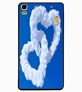 ColourCraft Cloud Couple Hearts Design Back Case Cover for LENOVO A7000 PLUS