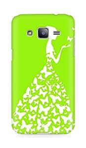 AMEZ designer printed 3d premium high quality back case cover for Samsung Galaxy j2 (bright green white girl princess)