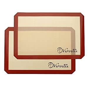 Vervetie Silicone Baking Mat Non-Stick Mat Silicone Cookie Mat for Oven, Bread, Pastry, Macaron, Bake Pan - 2 Pack